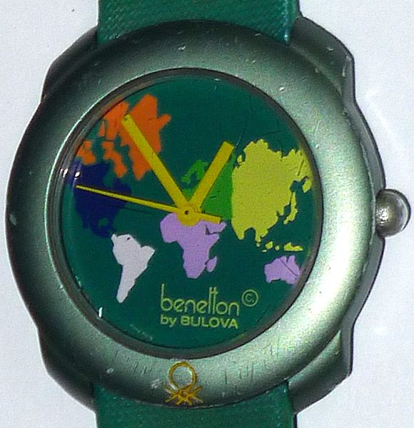 Benetton retro 1980s vintage bulova wrist watch working w new battery ebay for Benetton watches